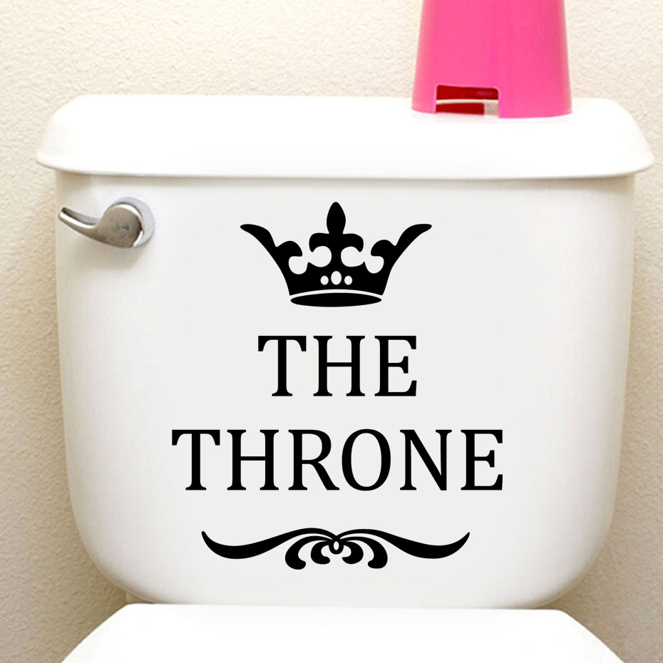 The Throne Crown Funny Toilet Stickers On Wall Decoration For Bathroom Adhesive Home Accessories Waterproof Plane Wall Stickers