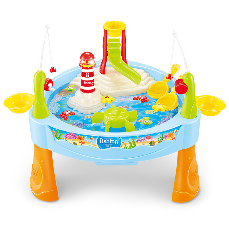 Novel Magnetic Electric Water Toys Fishing Toys Table With Light Music Beach Toys Kids Birthday Christmas Gift Toys For Children