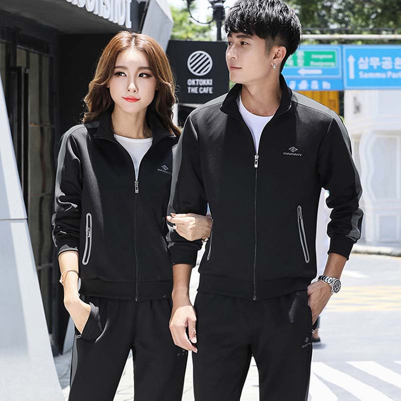 Tracksuits For Couples Unisex Sport Suits Zip Sweatshirt & Track Pants Two Piece Coupe Set Joggers Sweatsuit Mens Sweat Suit