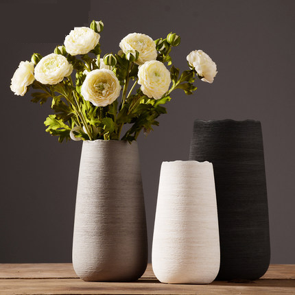 Modern minimalist ceramic flower vase European creative living room white flower Nordic home decoration ornaments