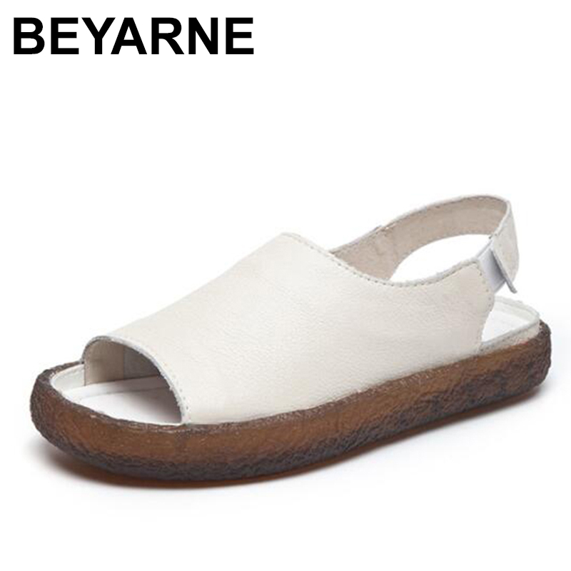 BEYARNE new women Sandals Genuine Leather Sandals Women Casual Summer Shoes Female Flat Sandals Size 35