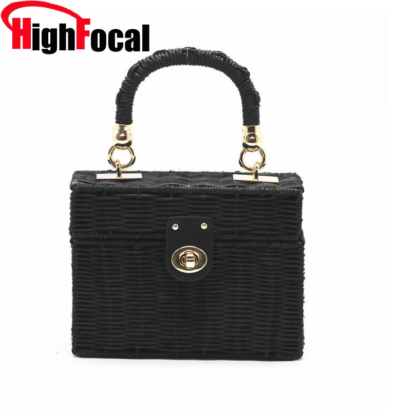 New Rattan Black Straw Shoulder Bag Women Hand-Woven Messenger Bag Summer Beach Square Chain Box Straw Handbag Drop Shipping