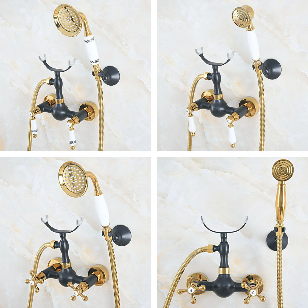 Black Oil Rubbed Bronze Gold Color Brass Dual Handles Wall Mounted Bathroom Clawfoot Hand Held Shower Head Faucet Set ana534Black Oil Rubbed Bronze Gold Color Brass Dual Handles Wall Mounted Bathroom Clawfoot Hand Held Shower Head Faucet Set ana534