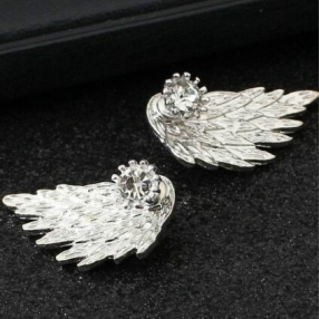New Fashion Gold Silver Gothic Cool Angel Wings Rhinestone Alloy Stud Earrings Gifts Women's Ear Studs Party Jewelry Earrings 3
