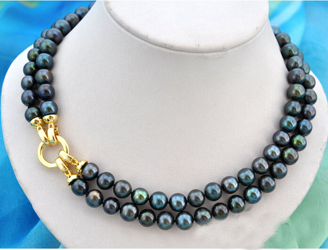 0d9ebf81c8f8 Collar de mujer de la boda joyería 2 filas 11-13mm negro perla choker collar