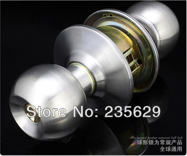 Free Shipping, Stainless Steel Bathroom Ball lock, cylinderical lock,Round Lock,Cylindrical Knobsets,ball lock, 30-45mm door new indoor door lock cylindrical ball with key copper lock core bedroom porter lock 304 stainless steel round washroom door lock