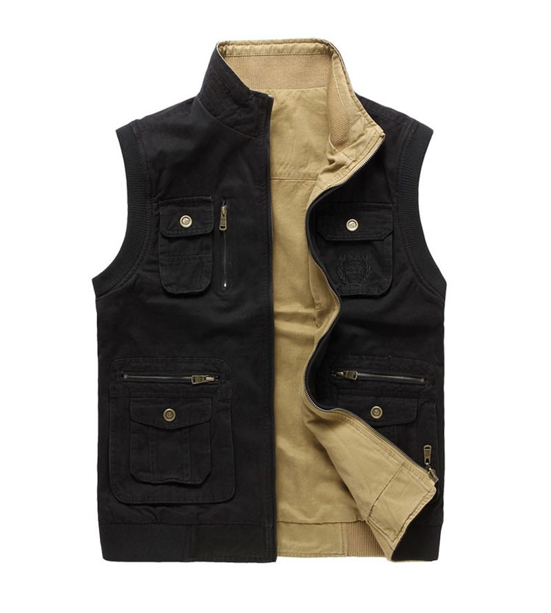 M~3XL 2015 Autumn Spring Reversible Casual Men Vest Coat AFS JEEP Cotton Pocket Cargo Outdoor Sleeveless Jackets Waistcoat Vests (10)