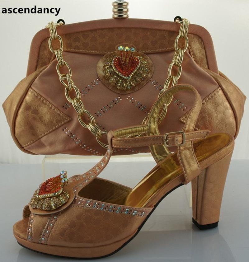 Diseño Zapatos Juego Último 2018 Bolso Y Bolsos Bolsas Boda Para Las La Nigeriano Conjunto Establece Hacer Mujeres África Venta Zapato De rojo Peach 5dqqwUr
