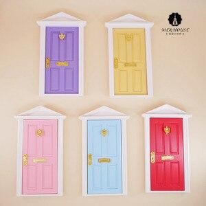 1:12 Кукольный домик Миниатюрные двери цветные европейские Деревянные Кукольный дом мебель рождественские украшения мини дверь подарок для ...