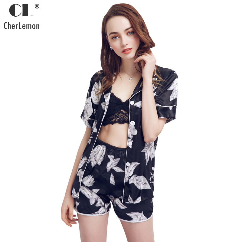 CherLemon Women Summer Sexy Satin Short Sleeve Pajama Shorts Set Weed  Floral Printed Black Pyjama Sleep Suit Notch collar Nighty-in Pajama Sets  from ... d20530378
