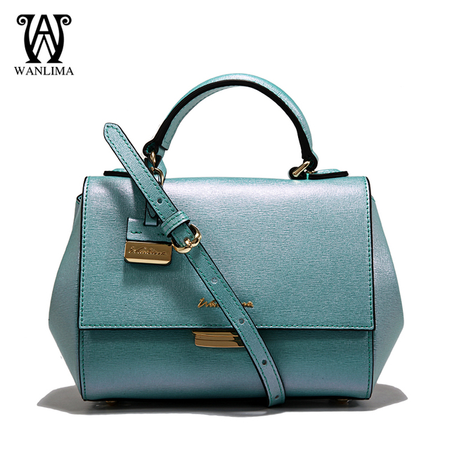 6953448b775a WANLIMA wholesale new 100% genuine leather women bag small shouder bag blue  red pink green free shipping to Russia