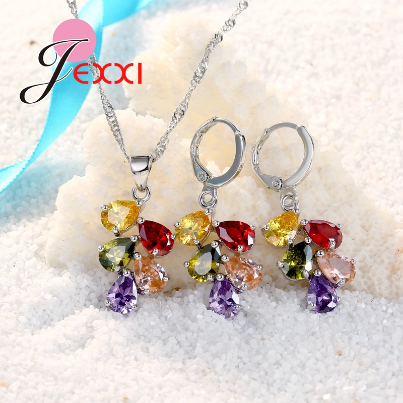 JEXXI Wedding Bridal Jewelry Set Untuk Wanita Warna-warni Water Drop - Perhiasan fashion - Foto 3