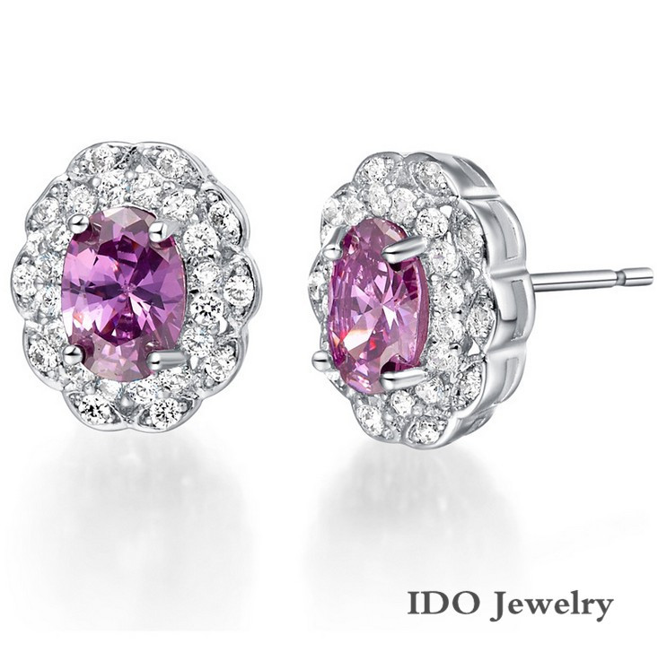 Austria Crystal Round Shaped Stone Stud Earrings White Silver ...