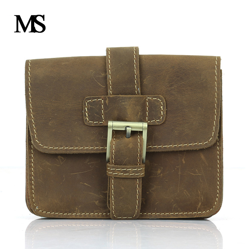 एमएस पागल हार्स चमड़ा कमर पैक पुरुष असली लेदर Cowhide हस्तनिर्मित आकस्मिक बैग मोबाइल फोन बकसुआ कमर BagTW1659 के लिए