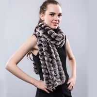 Real Fur Scarf Knit Rex Rabbit Female Elegant Genuine Rabbit Fur Scarves Warm Fashion Russian Winter