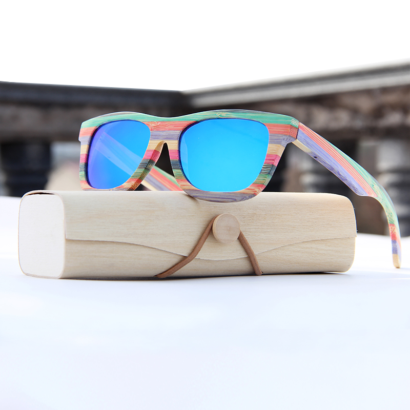 Bambu do vintage Polarizada óculos de sol para as mulheres Polarizada óculos  de sol da marca Caixa De Madeira Praia óculos Anti-UV óculos de sol 274060a3dd