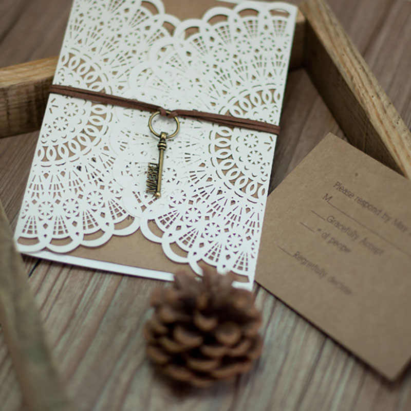 50 Sets Design Flower Lace White Wedding Invitaitons Cards Blank Print Ribbons Key Decoration Convite Send Envelope Seal