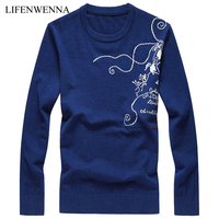 Autumn High Quality Men S Sweaters Fashion Printed O Neck Knitted Sweater Mens 2017 New Casual