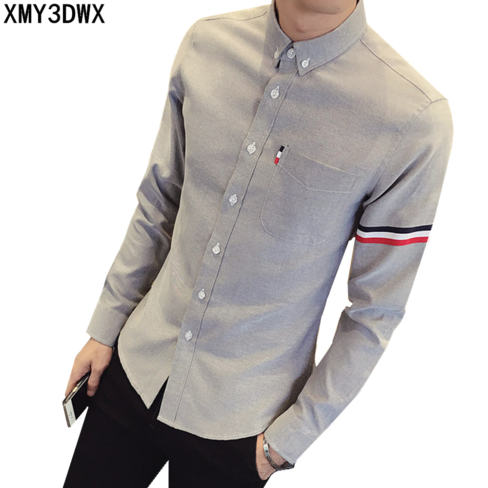 2017 New autumn men's casual tops brand shirt striped Strip decorate cotton men fashion solid color long sleeved Shirts M-XXXL 57