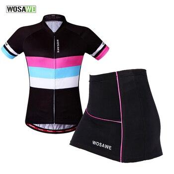 WOSAWE Mulheres Mini Saia + Camisa de Manga Curta Conjunto Camisa de Ciclismo Roupas de Bicicleta Ropa ciclismo MTB Bicicleta Roupas Respirável