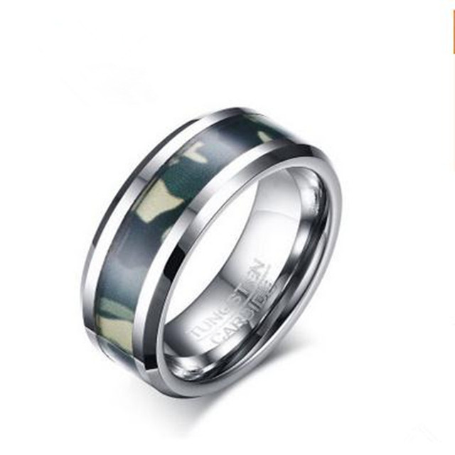 8mm Tungsten Steel Ring Fashion Personality Men S Army Green Camouflage Pattern Fine Jewelry Tcr