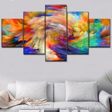Canvas Painting Home Decor 5 Piece Colorful Abstract Artistic Design Picture For Living Room Wall Art Print Poster Frame