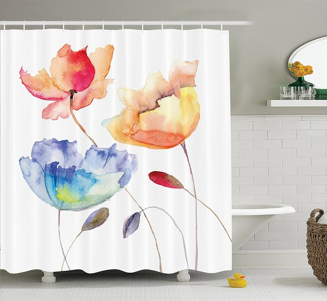 Art Shower Curtain Watercolor Flower Decor Summer Flowers In Retro Style Painting Effect Nature Is A