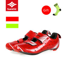 2017 Santic Carbon Fiber Pro Cycling Shoes Ultralight Breathable Road Bike Shoes Self-locking Bicycle Shoes Zapatillas Ciclismo