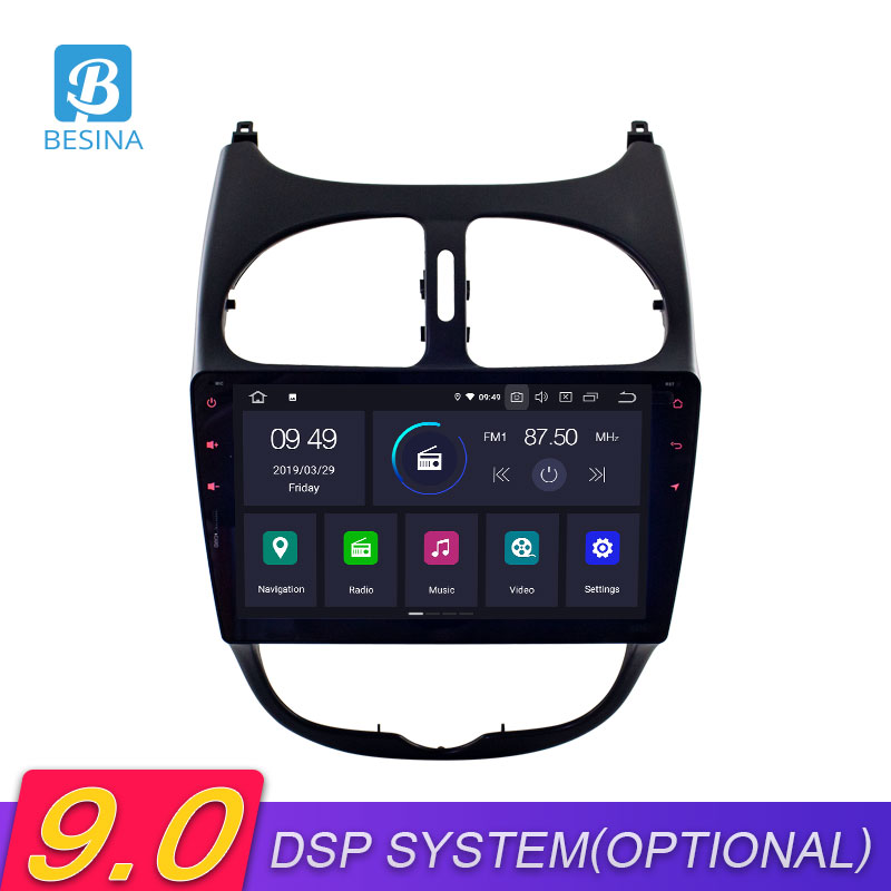 Besina 9 Inch Android 9.0 Car Radio For <font><b>Peugeot</b></font> <font><b>206</b></font> 2001-2008 GPS Navigation Bluetooth Multimedia Player Autoaudio Stereo 1 <font><b>Din</b></font> image
