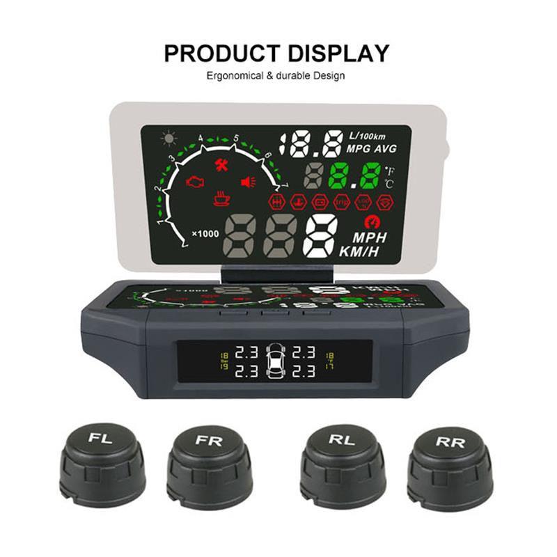3 em 1 Car HUD Head Up Display 2 Filme Sensor de Monitoramento da Pressão DOS Pneus TPMS OBD II Código Leitores KMH /Obd2 MPH Auto Ferramenta de Diagnóstico