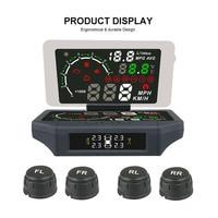 3 in 1 Car HUD Head Up Display TPMS Tire Pressure Sensor Monitoring Film OBD 2 II Code Readers KMH/MPH Auto Obd2 Diagnostic Tool