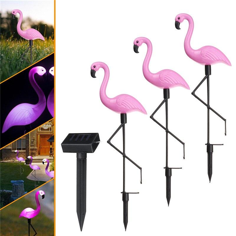 3 adet/takım LED bahçe lambası güneş enerjili Flamingo çim lambası açık bahçe dekoratif su geçirmez LED güneş bahçe lambası s