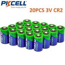 PKCELL بطارية كاميرا ليثيوم قابلة لإعادة الشحن ، 20 قطعة ، 850 مللي أمبير ، 3 فولت CR2 ، CR 15270 CR 15266