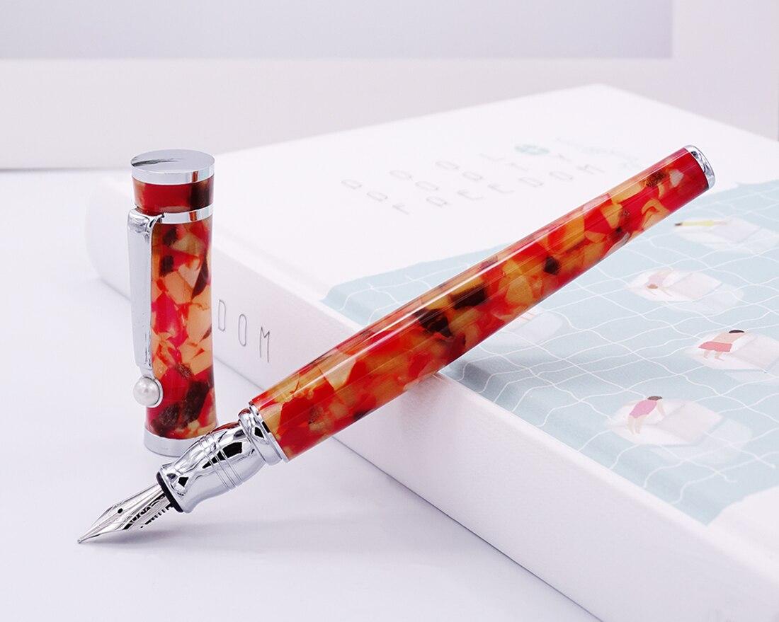 fuliwen celuloide caneta fonte maple folha laranja fino nib moda escrita presente caneta escritorio de negocios