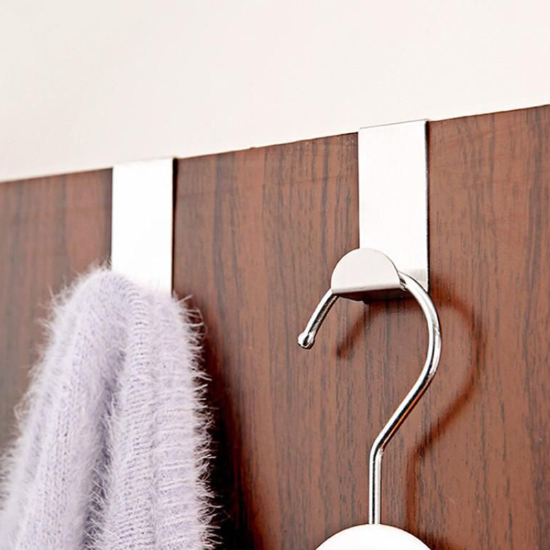 NEW White Over Door Coat X 5 Cloth Hook Hanger 35mm