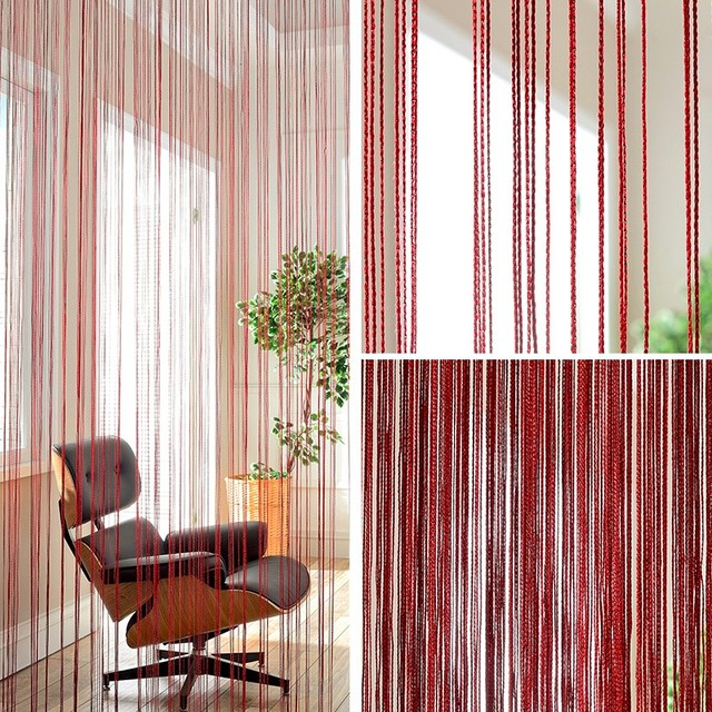 Door Curtain Models Polyester String Curtian Wine Orange Decorative  Household Items Office Cafe Kitchen Curtains 100cm