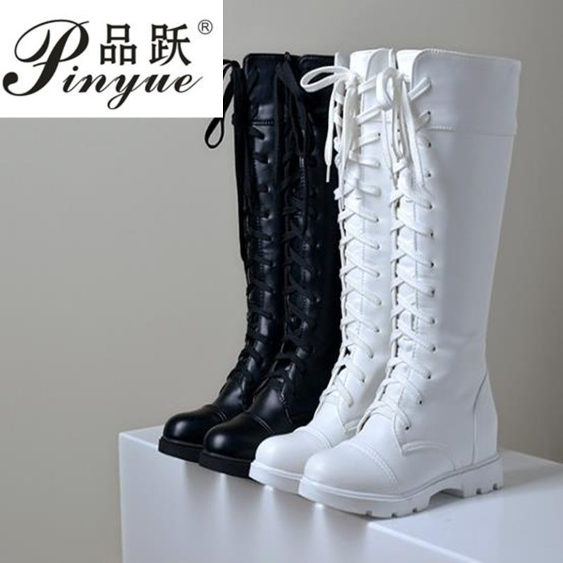 Women Platform Thick High Knee High Boots Fashion Lace Up Winter Fighting Boots White Black size34