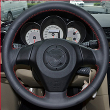 Free Shipping High Quality cowhide Top Layer Leather handmade Sewing Steering wheel covers protect For Mazda 6/Mazda 3/Mazda 5 цены
