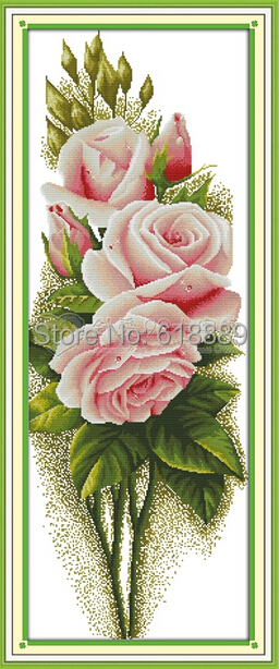 Big Size Handmade  Pink Rose Flower Painting Counted Cross Stitch 11CT Printed 14CT Cross Stitch Set Embroidery Kits Needlework