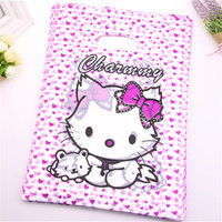 New Design Wholesale 100pcs Lot 25 35cm Pink Cute Lovely Kitty Packaging Bags With Small Heart