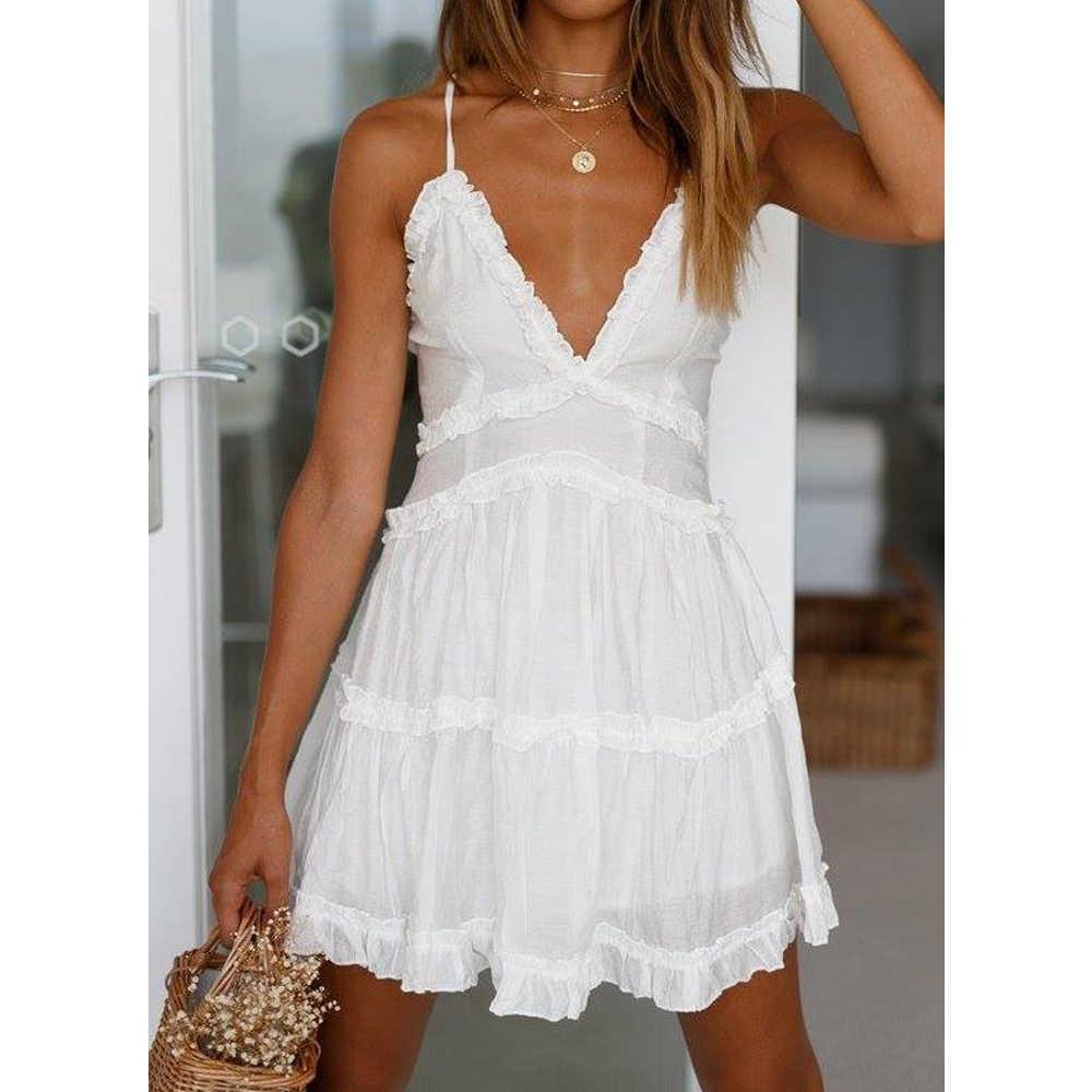 c7d0d8dd54 Tosheiny 2019 Women Summer Sexy Deep V Off Shoulder Cross Backless Dresses  Female Solid Color Mini