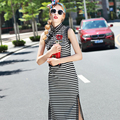 High Quality Fashion 2016 Summer Designer Women's Stripes Printed Chinese Stand Collar Placket Cross Embroidery Mid-calf Dress