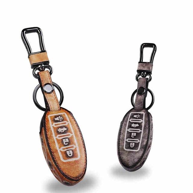 Leather Car Keychain Key Fob Case Cover wallet for Nissan Tiida Qashqai X-Trail Livina Sunny Sylphy Teana Key Rings Holder bag