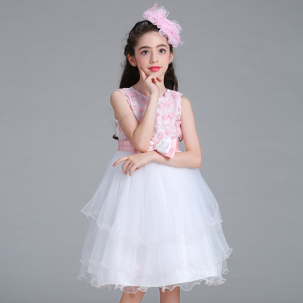 Princess Girls Flower Dress Kids Girl Clothes Ceremonies Party Dresses For Girl Cake Bow Formal Evening Kids Party Dress