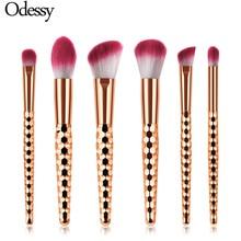 ODESSY brand Luxury rose gold make up brushes 6 pcs professional powder foundation eyeshadow eye brow makeup set