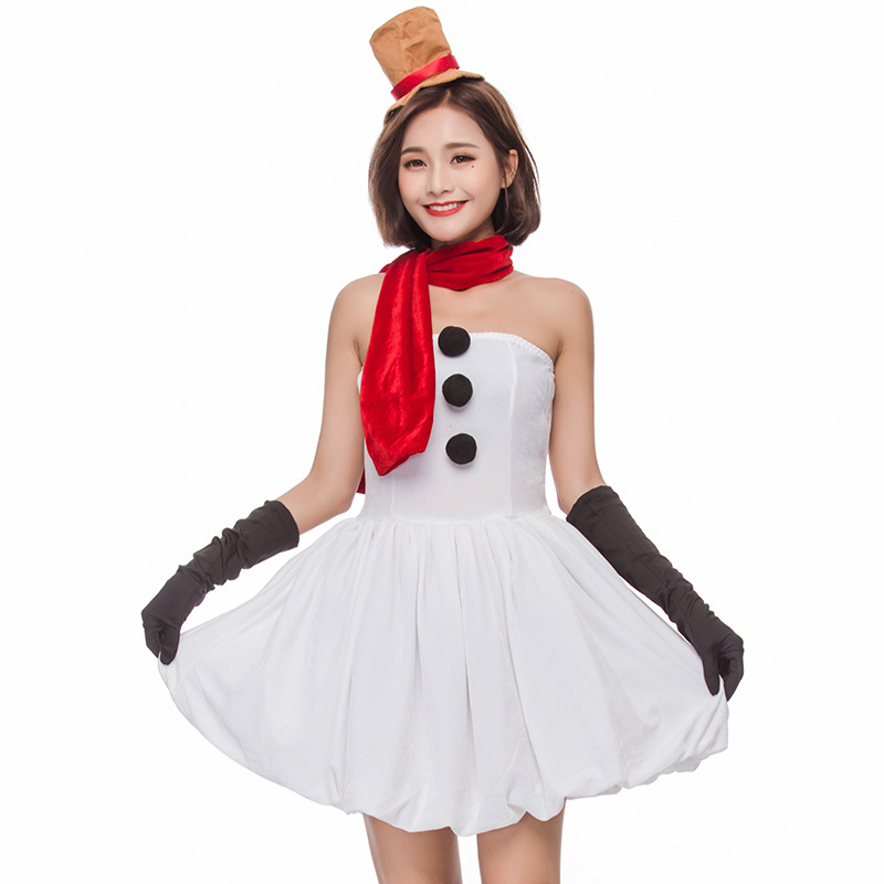 Umorden Sexy Snowman Costume Dress Women Christmas Outfit Fancy Dress White Velvet 4 Piece