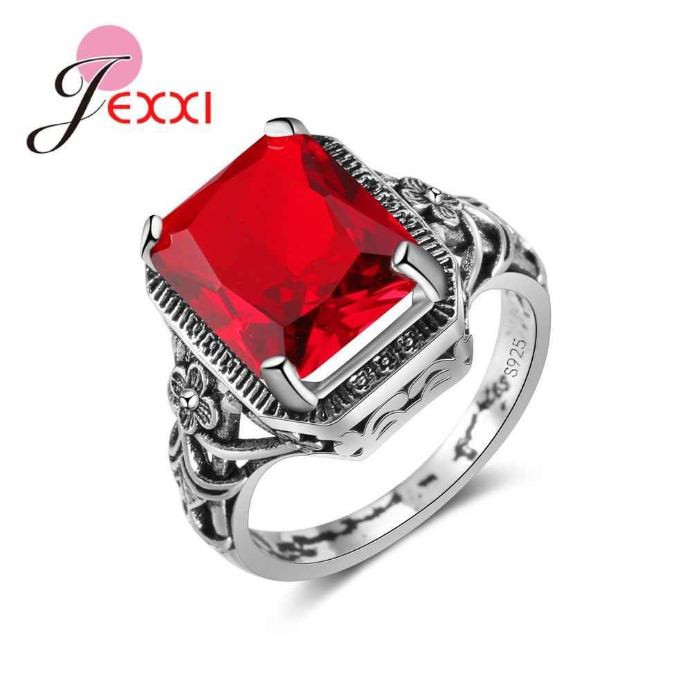 แฟชั่น 925 เงินสเตอร์ลิง Openwork แหวนสแควร์สีแดงสีม่วงคริสตัล Zircon เครื่องประดับแต่งงานคริสต์มาสของขวัญ