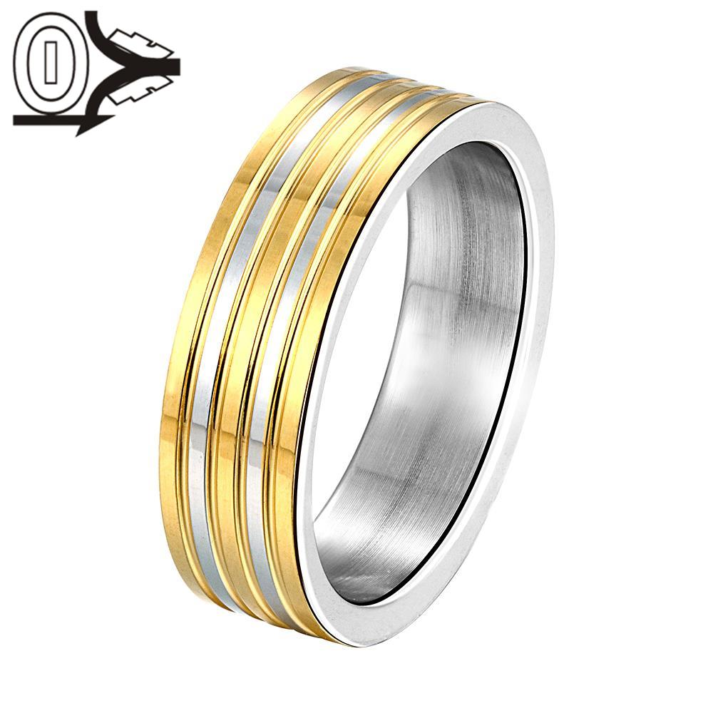 Three Gold Color Stripes Silver Plated Rings For Women Fine Fashion Jewelry Mens Steel Bague Jewelry Finger Rings