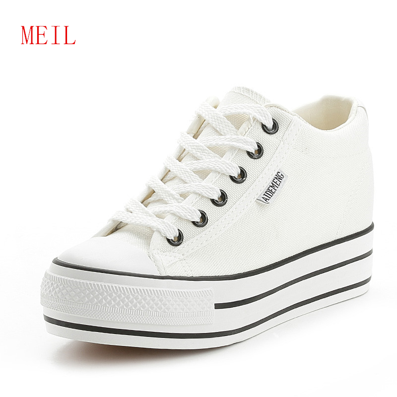 Women Breathable Sneakers Increased Platform Shoes Casual Footwear Leisure Sneaker Canvas White Shoes Women's Vulcanize Shoes