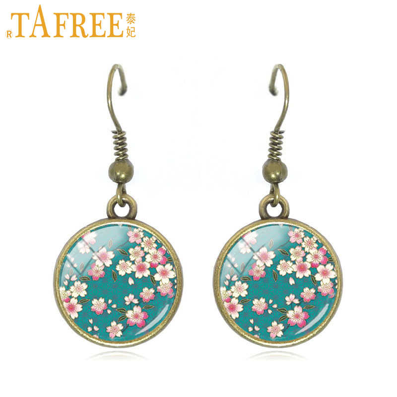 TAFREE flower pattern style drop earrings mandala women earring red and white peach blossoms dangle Jewelry C334